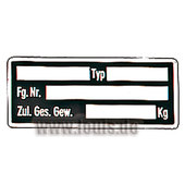 Plastic Vehicle Identification Plate Self-Adhesive, Blank