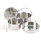 ZEBRA CAMPING COOK SET 4-PIECE, STAINLESS STEEL