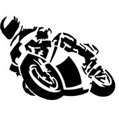 MOTORCYCLE STICKER BLACK, 1 PC, 16 X 12 CM