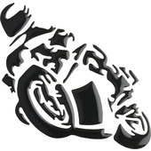 MINI 3D *MOTORCYCLE* STICKER, BLACK, 12 X 9 CM