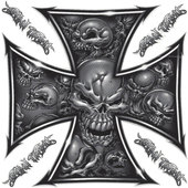 *SKULL CROSS 1* DECAL 1 PIECE