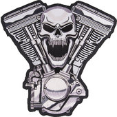 SKULL V-TWIN SEW-ON BADGE
