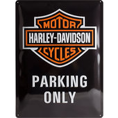 Plaque en métal Harley-Davidson Parking Only. Dimension: 30x40cm