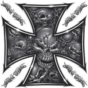 *SKULL CROSS 1* DECAL