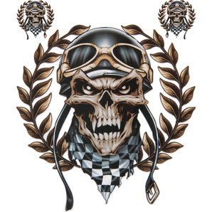 DECAL RACING SKULL