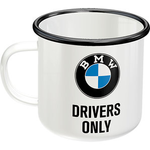 Emaille Becher BMW Drivers only