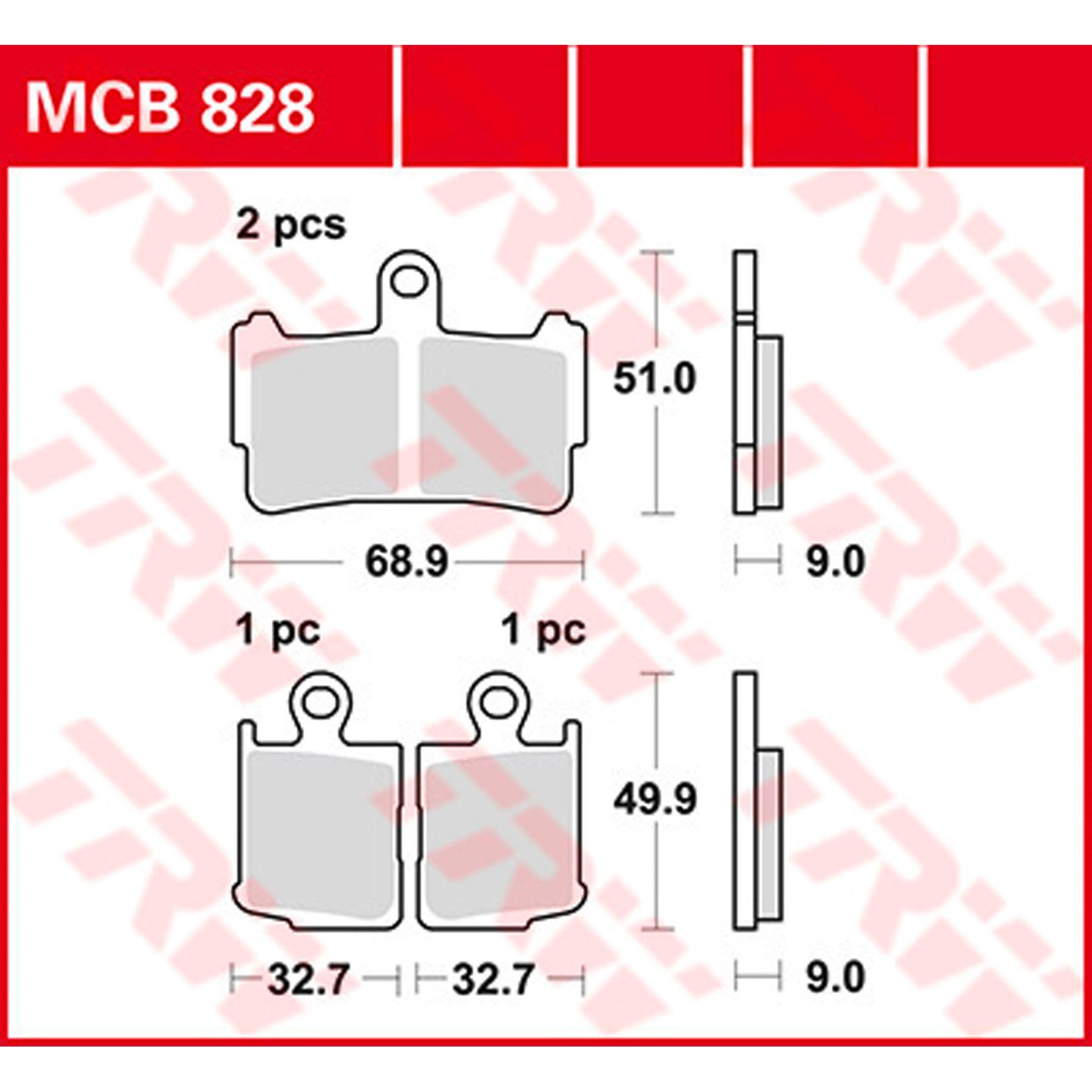 vorne Bremsbel/äge TRW MCB828SV* f/ür HONDA VFR 1200 F ABS SC63 10-