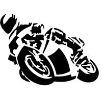 MOTORCYCLE STICKER BLACK, SOLD INDIV.16X12CM
