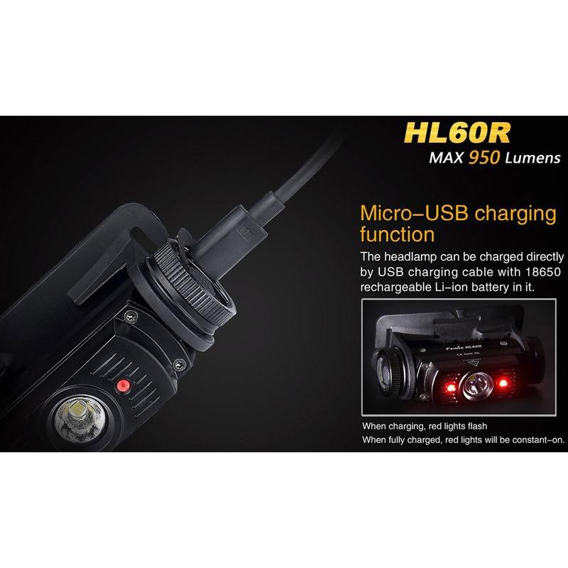 Fenix HL60R LED Stirnlampe 950 Lumen Tan Desert Kopflampe Akku /& USB Kabel