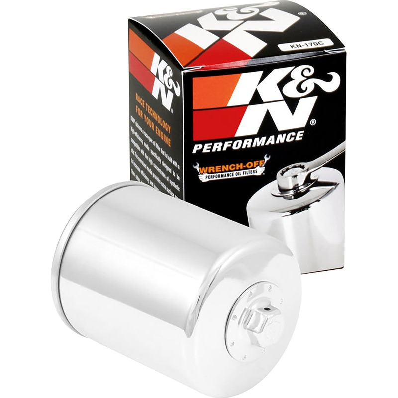 K/&N Chrome Motorcycle Oil Filters Pack of 3 KN-204C