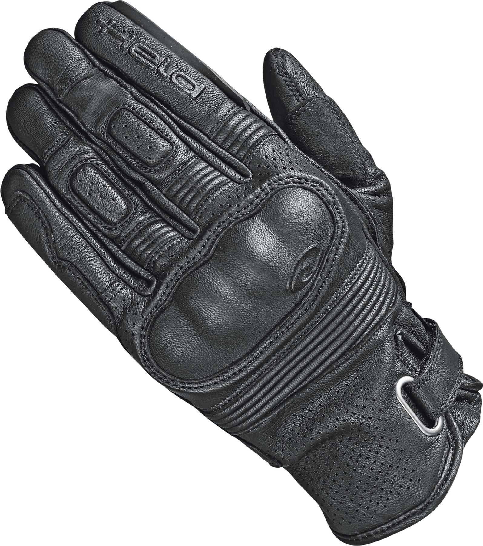 Black//White Held Travel 5 Leather Motorcycle Motorbike Touring Gloves